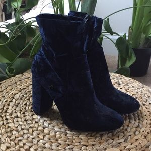 Blue Crushed Velvet Sock Boots